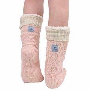 Jane & Bleecker Slipper Socks Kitten Face & Pink